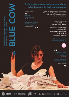 blue cow A3 poster